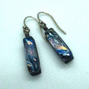 Glass earrings small hand blown blue black peach